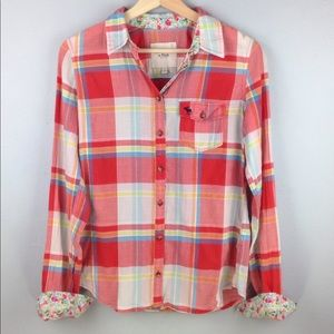 Abercrombie Red/White Plaid Button Down Shirt